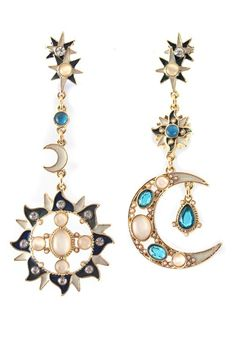 Sun Moon and Stars Multicolor Vintage Rhinestone Alloy Dangle Earrings  http://www.dinodirect.com/health-beauty?affid=4793