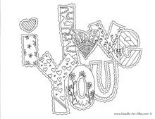 "There's also ""Miss You"" and ""Cute as a Button"" and ""Good Luck"" and ""Thank you"" A couple of free MESSAGE coloring pages available from doodle-art-alley.com"