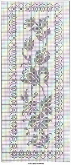 Filet crochet chart for a rose inspired table runner. Filet Crochet Charts, Crochet Motifs, Crochet Cross, Crochet Home, Thread Crochet, Crochet Stitches, Knit Crochet, Doily Patterns, Cross Stitch Patterns
