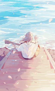 Wallpaper Animes, Anime Scenery Wallpaper, Anime Artwork, Walpapers Cute, Cute Art, Anime Angel, Anime Girl Drawings, Anime Art Girl, Aesthetic Art