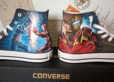 Custom High Top Vans, Custom Shoes, Custom Sneakers, Marvel Shoes, Marvel Clothes, Painted Converse, Painted Canvas Shoes, Iron Man Captain America, Captain America Shoes
