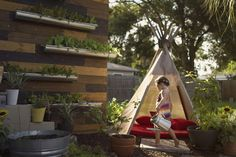 Love the drainpipes being used as pots! And of course, the teepee, Urban garden living!