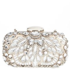 Women's Natasha Couture Crystal Embellished Frame Clutch ($100) ❤ liked on Polyvore featuring bags, handbags, clutches, crystal clutches, crystal evening bags, white clutches, evening handbags and white beaded purse