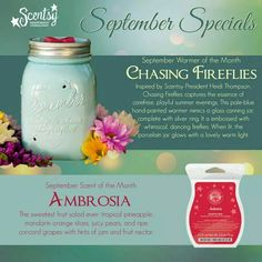 Scentsy warmer of the month for September 2014 called Chasing Fireflies and the scent of the month called Ambrosia! www.christinaq.scentsy.us