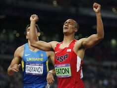 United States' Ashton Eaton, right, reacts as he crosses the finish line in the 1500-meter race of the decathlon to win gold during the athletics in the Olympic Stadium at the 2012 Summer Olympics, London, Thursday, Aug. 9, 2012. (AP Photo/Matt Dunham)