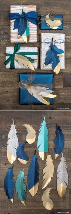 Christmas Gift Wrapping Ideas 15 ... die cut paper feathers with embossed gold tips instead of bows ... #giftwrapping