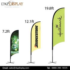 Outdoor banner flags are great for promoting new products and specials in your area or for branding an event and showing your company's sponsorship. DXP Display offer different types of flags including blade banner, bow banner, feather banner, teardrop banner or flying banner, sail banner all in different sizes.