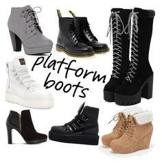 """""""Platform boots"""" by mshcool ❤ liked on Polyvore featuring Dr. Martens, Puma, JustFab and Dune"""