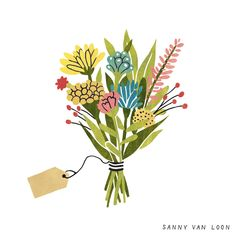 Illustration by Sanny van Loon from the book 'Creative Flow' • www.sannyvanloon.com | bunch of wildflowers
