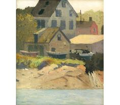 """""""Houses by the River,"""" Henry Bayley Snell, 1920, oil on canvas mounted on board, 14 x 12"""", private collection."""