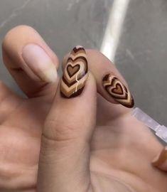 Best Acrylic Nails, Acrylic Nail Designs, Heart Nail Designs, Acrylic Art, Milky Nails, Nagellack Design, Acylic Nails, Brown Nails, Brown Nail Art