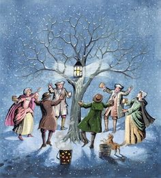 Wassailing the Apple Trees, illustrating the Devonshire custom of encouraging the yield of good fruit on Twelfth Night, 1997 Wall Art & Canvas Prints by Pauline Baynes