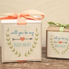 Will You Be My Bridesmaid? - Gift Boxes // Will You Be My Maid Of Honor? // Will…