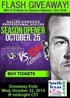 3-DAY FLASH GIVEAWAY - ends Wednesday, Oct 22nd @ midnight CST. Prize is 6 tickets to Dallas Sidekicks season opener this Saturday, Oct 25th. #indoorsoccer #sidekicks #northtexaskidsmagazine