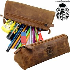 Pencil Case - Pen Etui - Cosmetic Bag Democrit Brown Leather - Baron Of Maltzahn Leather Pencil Case, Storage Organization, Cosmetic Bag, Sunglasses Case, Brown Leather, Cosmetics, Baron, Ebay, Pens