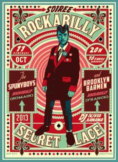 Ven 11 octobre – 20h – SECRET PLACE – 10€ adh Soirée rockabilly ! The SPUNYBOYS (Rockabilly – Somain) + BROOKLYN BARMEN (Rockabilly – France) + DJ OLIVIA BANANA   Affiche créée par Ben Hito!