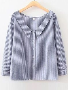 Shop Blue Vertical Striped V Neck Button Up Blouse online. SheIn offers Blue Vertical Striped V Neck Button Up Blouse & more to fit your fashionable needs. Sewing Blouses, Women's Blouses, Tunics, Preppy Look, Inspiration Mode, Mode Style, Diy Clothes, Preppy Clothes, Clothes Shops