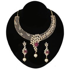· 22 Karat Gold plated floral design collar choker necklace dangle earrings set with micro cubic zirconia stones. Craft and Jewel features the latest trends & styles of fashion jewelry. Jewelry Box, Jewelry Necklaces, Jewlery, Indian Necklace, Collar Choker, Body Jewellery, Pink Stone, Necklace Set, Earring Set