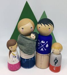 ** Current processing time (before shipping) is approx 3-4 weeks **  These wooden people make beautiful gifts for children, can be used as cake toppers or party decor or simply have place in your home in lieu of the traditional family photo. I can paint your dolls in any styles and outfits you choose, right down to the tiny little details. Upon ordering this item, please send me an email with some photos and as many details as possible about the people you would like painted. If you would…