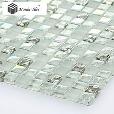 TST White Glass Tiles Iridescent Aqua Kitchen Backsplash Tile Mosaic Bathroom Fireplace Deco Inner Crack Waterdrop Design 11 SF