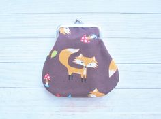 Kiss lock coin purse wallet pouch clip frame fox chocholate brown orange turquoise mushroom leaves red green forest cotton lining kids gift by poppyshome on Etsy