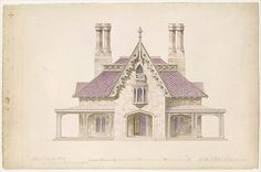 Alexander Jackson Davis | House for William J. Rotch, New Bedford, Massachusetts (front elevation) | The Met