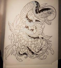 IRON CLAWさんはInstagramを利用しています:「Sketch... #snaketattoo #sketch #chrysanthemumtattoo #neojapanesetattoo #ironclawstrasbourg #irezumicollective #tattoosleeve…」