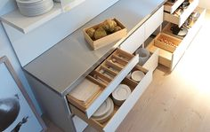bulthaup cabinetry - stand alone kitchen units. timber inside drawers