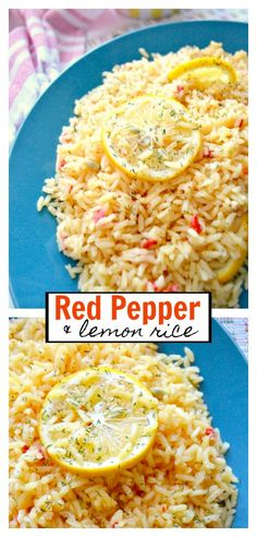 Red Pepper Lemon Rice - easy and delicious side dish! Side Dishes For Fish, Side Dishes For Chicken, Rice Side Dishes, Best Dinner Recipes, Side Dish Recipes, My Favorite Food, Favorite Recipes, Lemon Rice, Vegetarian Recipes