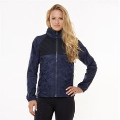 Experience the outdoors in style this season with the Glamper Jacket in Blue/Black #camo. With DryFuze® moisture-wicking technology and water resistant material, you'll stay comfortable and dry. The custom designed print and hidden mesh elements add style to this unique outerwear piece. Includes a tuck-away hood, too! #golf4her #golffitness #fitness
