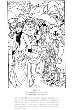 Welcome to Dover Publications - Dover Masterworks : Color Your Own Renoir Paintings / Marty Noble Dover Coloring Pages, Free Printable Coloring Pages, Adult Coloring Pages, Coloring Books, Pierre Auguste Renoir, Edouard Manet, Renoir Paintings, Dover Publications, Famous Artists
