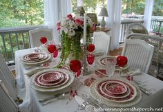 Springtime Table Setting with Vintage Copeland Spode Tower and a Daisy and Rose Centerpiece