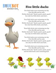 Five Little Ducks / 5 little ducks nursery rhyme lyrics Free printable nursery rhyme lyrics page. Five Little Ducks / 5 little ducks nursery rhyme lyrics. by Bluebot animation. (TAG : Nursery Rhyme (Literature Subject), #nursery rhymes, Children's Song, nursery rhyme, nursery rhymes, English rhymes collection, rhymes for children, children songs, songs for children, lyrics)