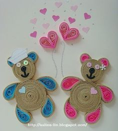 Lin Handmade Greetings Card: Teddy bear couple