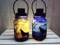 Day OR Night Wolf in the Desert, Mason Jar Light, Outdoor Solar Light, Hand Painted Mason Jar, Hanging Lantern, Quart Size, Outdoor Lighting by CareBaresCreations on Etsy https://www.etsy.com/listing/180477779/day-or-night-wolf-in-the-desert-mason