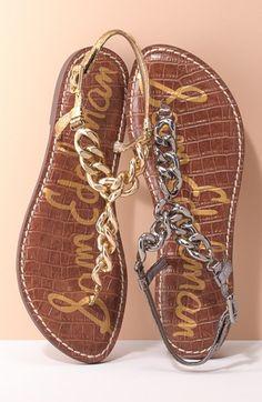 Sam Edelman  Grella  Leather   Chain Link Thong Sandal (Women)  810d2c51924e