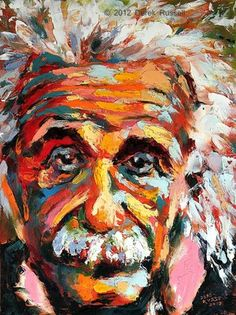 Albert Einstein Original Oil Painting by Artist Derek Russell