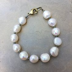 Pearl and Brass Bracelet with Pyrite Nuggets. Choose your size.