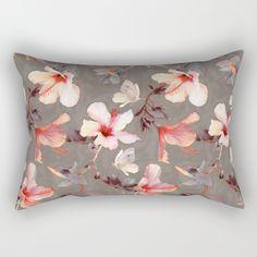 Coral Hibiscus Rectangular Pillow
