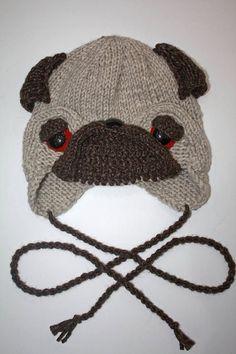 Pug Dog Hat Winter Hat Hat with earflaps Puppy Dog Pug Adult Child Fun Ha #pug Dog Hat Winter Hat Hat with earflaps Puppy Dog Pug Adult Child Fun Hat
