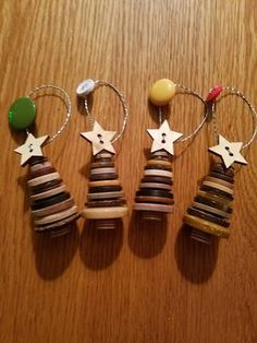 Set of 3 Brown Button Trees Christmas Button Crafts, Homemade Christmas Crafts, Button Ornaments, Christmas Buttons, Kids Christmas Ornaments, Cheap Christmas Gifts, Christmas Tree Decorations, Christmas Fun, Holiday Crafts