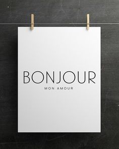 Bonjour mon Amour   PRINTABLE FILE. French by ILKADesign on Etsy