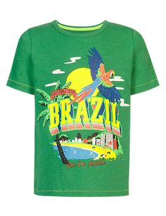 Parrot .. palm tree.. kid's tee - cute! :) Green Pure Cotton Brazil T-Shirt Clothing - M & S