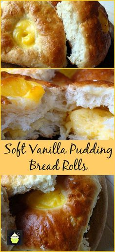 Light, Fluffy, Soft, VANILLA Filled Buns..oh gosh! Eat these warm or cold, I like them just from the oven! Freezer friendly too #bread #vanilla #buns