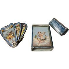 CHERUBS on FAN NEEDLE CASE & Original BOX & needle packets, H Millward & Sons ; Antique Old Victorian 19th century