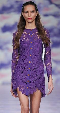 Beautiful and sexy short lace overlay dress in purple. No one will miss you in this dress. House of Holland.