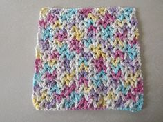 V Stitch Dishcloth The easy to crochet dishcloth pattern uses only an ounce of yarn. You can crochet it in a few hours. The easy V-stitch makes it just the right weight.