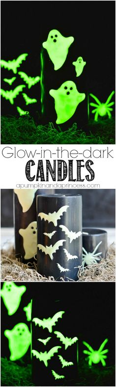DIY Glow-in-the-dark Halloween Candles from MichaelsMakers A Pumpkin and a Princess