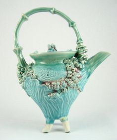 Beautiful turquoise color and wonderful detail on this teapot. Made by Amanda Eccleston. #teapot #turquoise #art_pottery