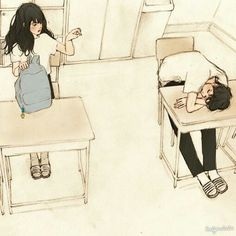 Find images and videos about art, anime and drawing on We Heart It - the app to get lost in what you love. Art And Illustration, Korean Illustration, Character Illustration, Anime Gifs, Anime Art, Aesthetic Anime, Aesthetic Art, Cute Couple Art, Anime Kunst